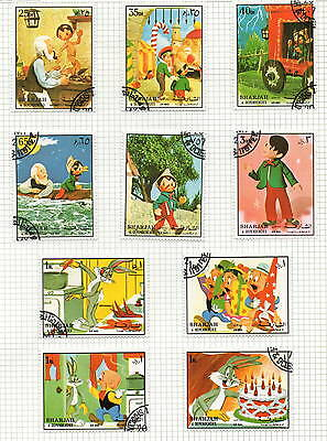 Sharjah 10 stamps 1972 6 Pinocchio set and 4 Bugs Bunny (bk5)