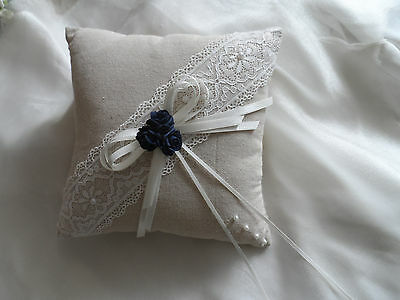 Hessian and Lace Rustic Ivory & Navy Blue Wedding Ring Cushion Hand Crafted
