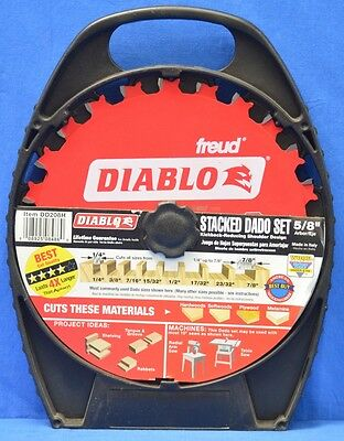 "NEW Diablo 8-inch 12 Tooth Stacked DADO Set Carbide Tipped 5/8"" Arbor DD208H"