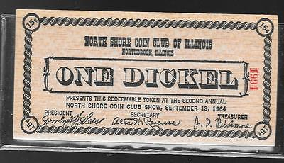 Northbrook Il - 9/13 1964 North Shore Coin Club Wooden Dickel (15 Cents)
