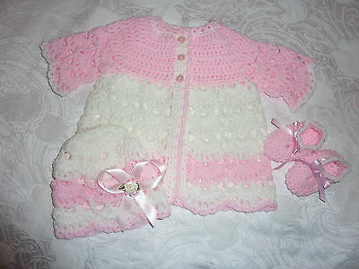 MATINEE SET FOR BABY GIRL OR REBORN DOLL new hand crafted