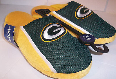 Pick Your Size Forever Green Bay Packers NFL Slippers JERSEY SLIDE ON Adult  mens 4b5bd29af1