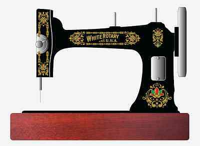 Faux White Rotary Sewing Machine Restoration Decals 3 Color Metallic