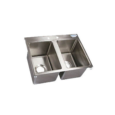 """BK Resources BK-DIS-1014-2 Two Compartment 24""""x18"""" Stainless Steel Drop-In Sink"""