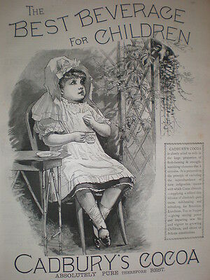 Cadbury's Cocoa child cup and saucer 1890 old art advert