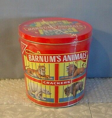 NEW & SEALED! 1991 BARNUM'S ANIMAL CRACKERS ROUND MEATL TIN with Crackers