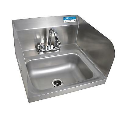 "BK Resources BKHS-D-1410-SS-P-G 14""W Wall Mount Hand Sink w/ Faucet"