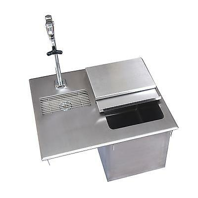 """BK Resources 21""""W Stainless Steel Drop-In Ice Bin with Water Station"""