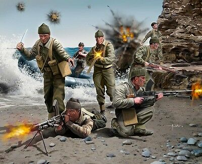 BRITISH COMMANDOS Toy Soldiers WW2 1/76 scale Revell plastic model kit#2530