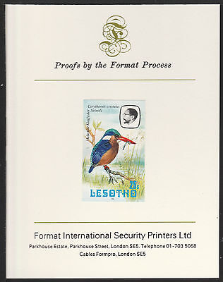Lesotho (512) 1982 Kingfiusher 25s imperf on Format International PROOF  CARD