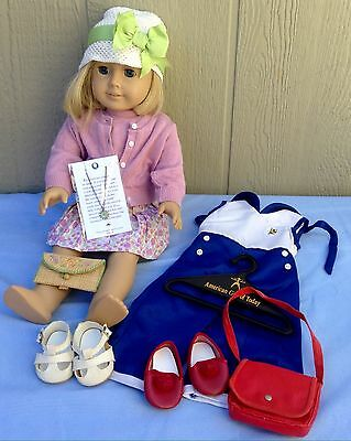 American Girl Doll Kit Kittredge W/Meet Outfit & Accessories Necklace Freckles