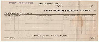 1889 Expense Bill Ft. Madison & North-Western Railway Chas. Gilchrist Receiver