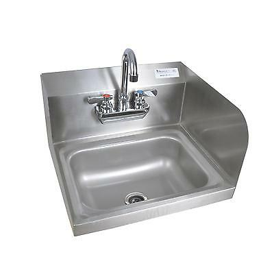 "BK Resources 13-3/4"" Wall Mount Hand Sink w/3-1/2"" Gooseneck Spout Faucet"