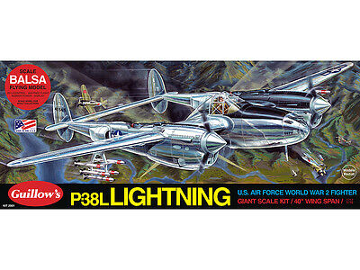 LOCKHEED P-38L LIGHTNING Guillow's Flying Balsa wood model kit#2001