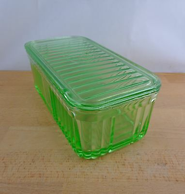 Vintage Art Deco Green Depression Glass Butter Dish with Lid