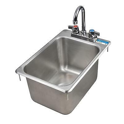 "BK Resources One Compartment 12-1/4""x18"" Stainless Steel Drop-In Sink"
