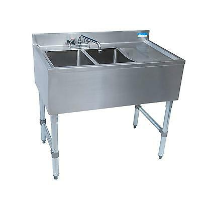 """BK Resources 48""""W Two Compartment Stainless Steel Underbar Sink - BKUBS-248RS"""