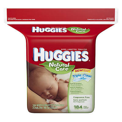 New Huggies Natural Care Fragrance Free Refill Baby Wipes - 184 Count