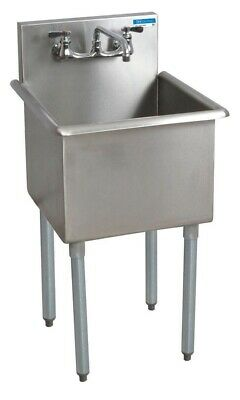 """BK Resources 21""""x24"""" Single Compartment Stainless Steel Budget Sink"""