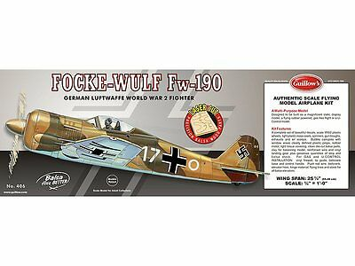 Focke-Wulf Fw-190 Balsa Wood 1/18 scale Guillow's Model kit#406
