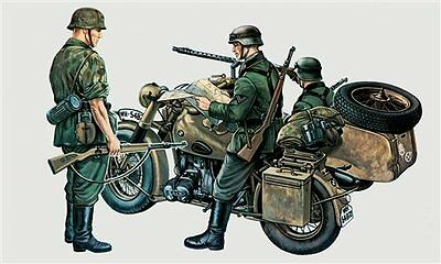 Military German Motocycle with side car 1/35 scale Italeri plastic model#315