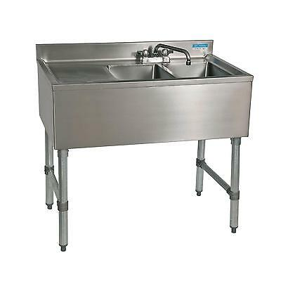 "Bk Resources 48""W Two Compartment Stainless Steel Underbar Sink - Bkubs-248Ls"