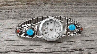 Navajo Coral Turquoise Silver Women's Watch Tips