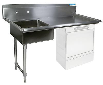 "BK Resources 60"" Undercounter Soiled Dishtable Left Side w/ S/s Legs"