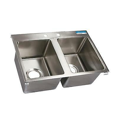 """BK Resources Two Compartment 24""""x18"""" Stainless Steel Drop-In Sink"""