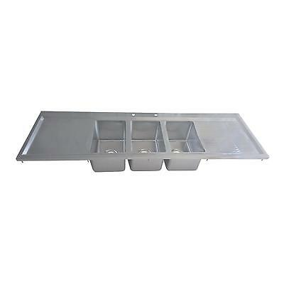 """BK Resources Three Compartment 70""""x20"""" Stainless Steel Drop-In Sink"""