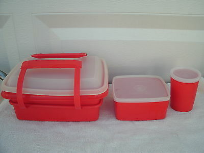 Vintage Tupperware--Pack N Carry Lunch Tote--Red--7 pcs--