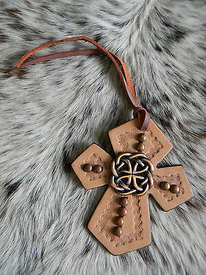 Tooled Leather Tie On Cross Western Saddle Copper Celtic Knot Horse Tack NEW