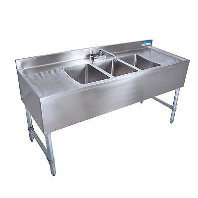 "BK Resources BKUBS-496TS 96""W Four Compartment Stainless Steel Underbar Sink"