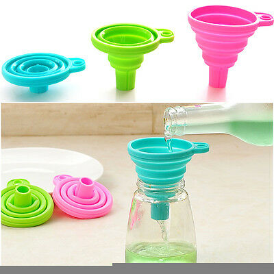 3x Small Foldable Kitchen Silicone Collapsible Funnel Hopper Gel Practical Tool