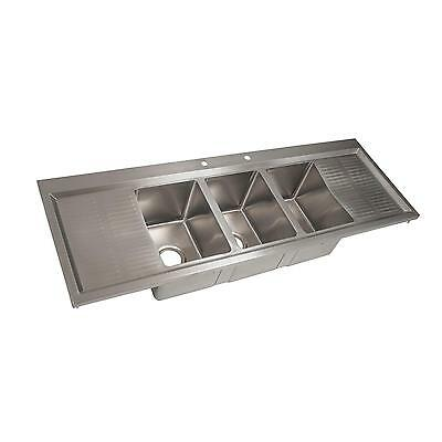 "Bk Resources Three Compartment 58-1/8"" Stainless Steel Drop-In Sink - Bk-Dis-101"