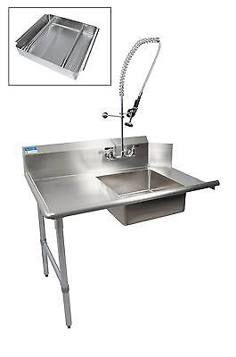 "BK Resources 36"" Soiled Dishtable Left w/ Pre-Rinse Faucet & Basket"