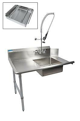 "BK Resources 60"" Soiled Dishtable Left w/ Pre-Rinse Faucet & Basket"