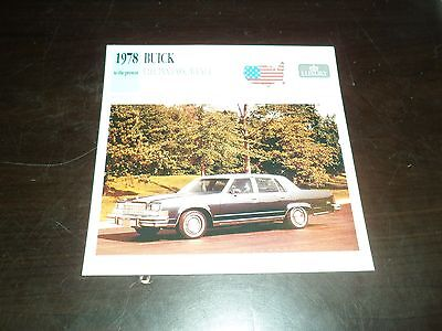 1978 to present Buick Electra Park Avenue Car Photo Spec Sheet Stat Info CARD