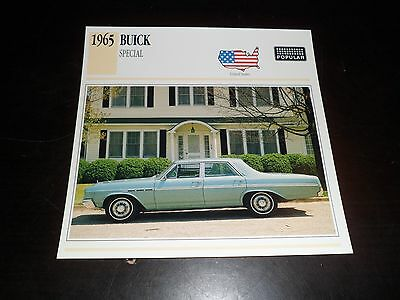 1965 Buick Special Car Photo Spec Sheet Stat Info CARD