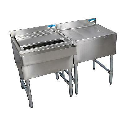 "BK Resources 60"" Stainless Stee;Underbar Ice Bin/Drainboard Workstation"