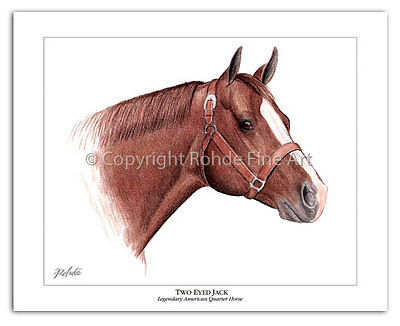 TWO EYED JACK famous QUARTER HORSE ART portrait western aqha WOW - free shipping