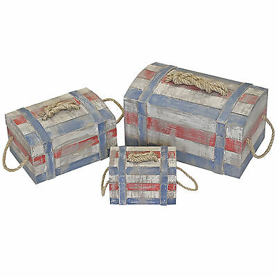 Set Of 3 Rustic Nautical Pirate Wooden Storage Chest Box With Lid & Rope Handle