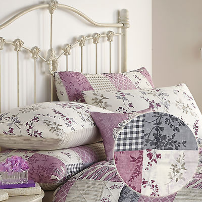 Vintage Country Pillow Case Pair With Floral Patchwork In Lilac Purple & Cream