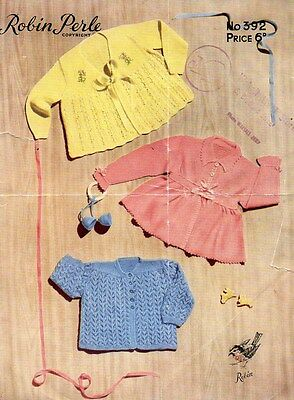 Original Vintage Knitting Pattern for 3 x Baby Matinee Coats Robin Perle 392