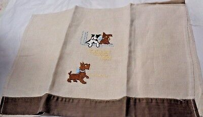 Scotty Scottie Dog Brown Images Terrier  Blue Bows Brown Edge   Hand Towel