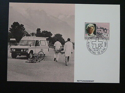 bicycle cycling car automobile road safety maximum card Liechtenstein 1985/55