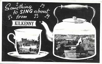 Ireland 1950s Kilkenny Views Kettle and Teacup Used RP Postcard R4129