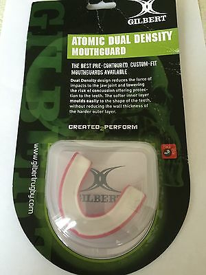 Gilbert Atomic Dual Density Mouthguard Gum Shield Rugby Hockey Adult Red