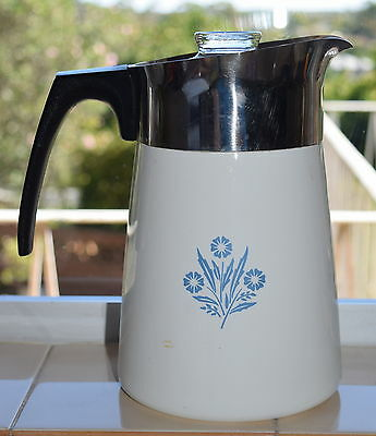6 Cup CORNING WARE JUG with Lid LARGE CorningWare Stove Top Cornflower Kettle