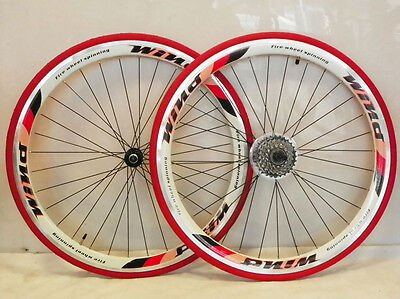 5. 6. 7 speed 700c racing bike wheelsets / gear wheels with tyres and tubes red1